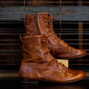 Frye Brown Leather Tall Ankle Boots